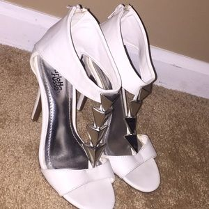 White Triangle Stud Heels
